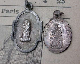 2PCS French antique religious medal sterling silver religious Virgin mary Our lady de l'epine gothic notre dame