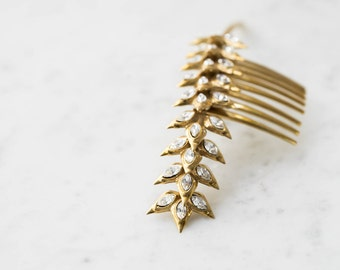 Jeweled Wheat Stalk Comb- 3D Printed Hair Accessory with Swarovski Crystals