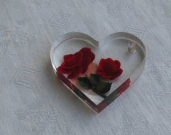 Vintage Lucite Heart Shaped Red Rose Pendant