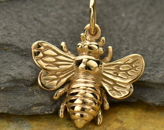 Large Natural Bronze Honeybee Bumble Bee Charm -Beekeeper- Garden-Nature