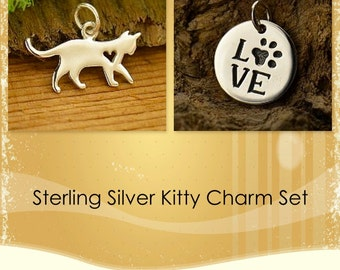 Sterling Silver Kitty Charm Set-Cat-Animal Lover
