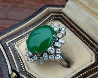 14k gold diamond green jade wedding engagement cocktail ring - Jade Wedding Ring