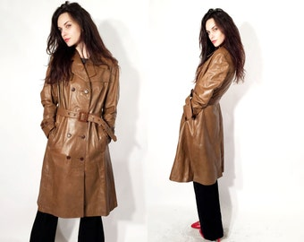 Vintage 70's Coat / Brown Leather Jacket /  Belted Jacket / Classic Trench Coat  Size M