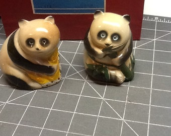 vintage ceramic panda pencil sharpener set of 2