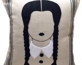 Felt Applique Wednesday Addams Pillow Case