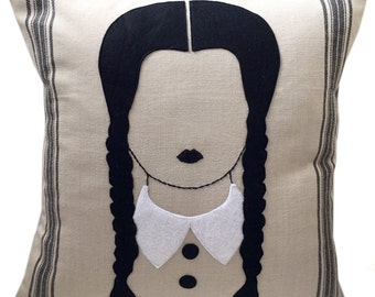 Felt Applique Wednesday Addams Pillow Case