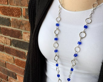 Blue Cube Lanyard Necklace - Beaded Lanyard