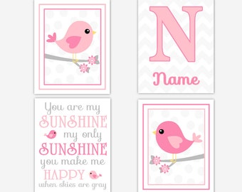 Baby Girl Nursery Art Pink Gray Birds You Are My Sunshine Personalize Art Baby Girl Wall Decor Nursery Bird Decor Girl Room Art CHOOSE COLOR