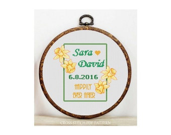 Personalized/Custom Wedding-Cross Stitch Pattern-Modern Sampler-Pdf-Instant Download