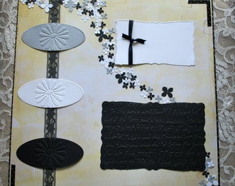 12 x 12 scrapbook page. Pre-made scrapbook page, black and yellow, flower blossoms