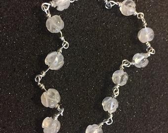 Carved Rock Crystal Flower Bracelet