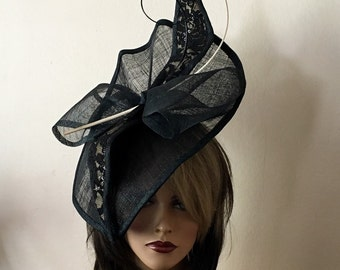 Black and  beige fascinator. Kentucky Derby hat. Black hat for Royal Ascot, wedding. Couture hat