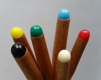 Vintage fondue forks set of 6 multi coloured handles