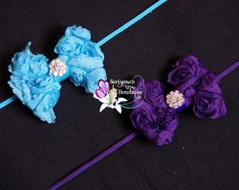Turquoise Blue Purple Chiffon Rose Bow Rhinestone Skinny Headband, Baby Headband, Flower Girl, Vintage - SB-057