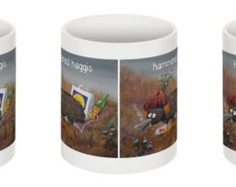 Scottish Cartoon Hammered Haggis Mug Glasgow Artist