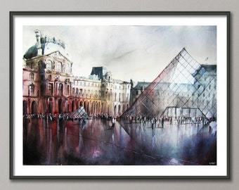 Le Louvre Paris Painting, Watercolor, Poster France, Giclee print , Modern wall art
