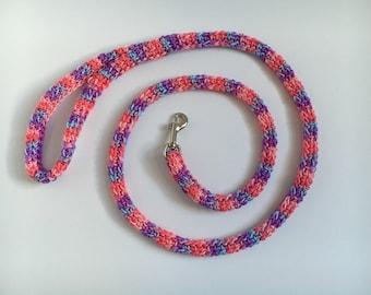 Pastel dog leash, Striped dog leash, Sale dog leash, Pastel dog, Small Dog Leash, Four Foot Leash, Spring leash, pink and purple leash