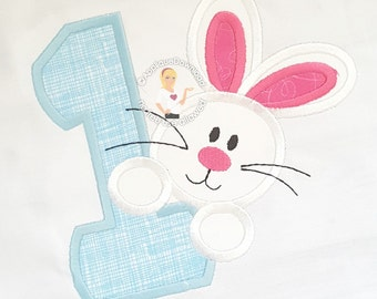 Bunny and Number One - 3 sizes - Instant EMAIL With Download - for Embroidery Machines