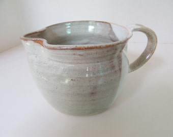 Hand Thrown Clay, Milk or Juice Pitcher, Vintage, Beige White Tan, holds 2 cups, perfect handle spout, friend's gift, US pottery wheel, art