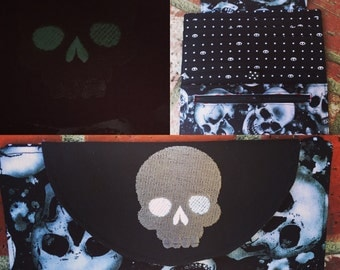 Embroidered Skull folding wallet -- Magnetic Closure -- glow in the dark--Ready to Ship