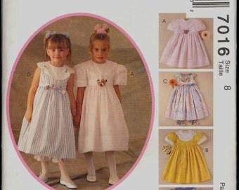 Uncut 1990s Size 8 Breast 27 Kitty Benton Girls Dress Pantaloons McCalls 7016 Vintage Sewing Pattern 90s