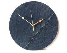 Denim Wall Clock Decoupage Jeans Fabric Clock - Recycled Blue Jeans Denim Fabric - Recycled Vinyl Record Clock