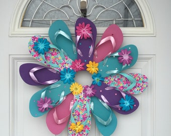 Flip Flop Floral Wreath Beach Pool Patio Lake Wall Decor/Spring Summer Wreath