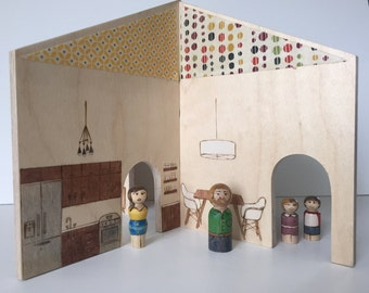 Collapsable dollhouse Mid-century Modern style with family of four peg dolls