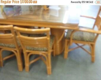 WAREHOUSE SALE 35% OFF 1948 Paul Frankl Style 6 Strand Rattan Dining Table and 6 Chairs tiki hawaiiana retro