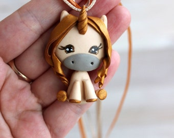 Unicorn, girl pendant, cute pendant, lovely necklace, kids jewelry, handcrafted necklace, gift for Christmas