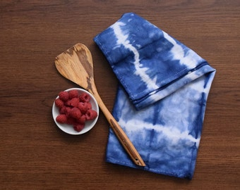 Indigo Kitchen Towels, Hand-Dyed Kitchen Towels, Boho Dish Towels