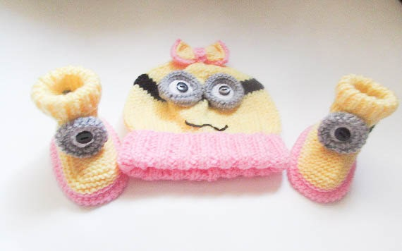 Knitting Pattern Minion Hat Minion Booties hat booties ...