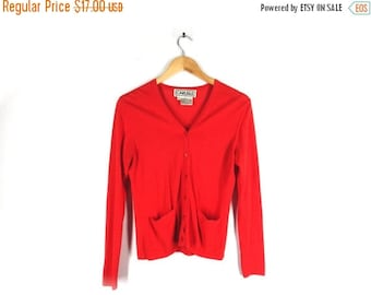 LAST CALL 80s Orange Red Cardigan Sweater - Vintage - by Carlisle - Button Up - Two Pockets - Simple, Bright - Women - Extra Small, Small