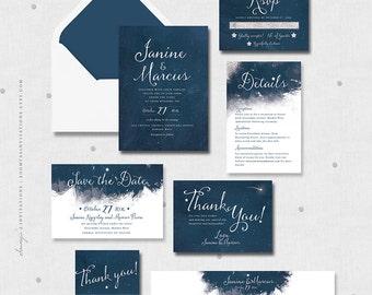 Printable Wedding Invitation Suite Set Navy Blue White Silver Watercolor Wedding Invitation Star Night