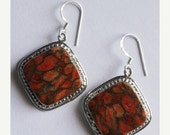"SEASON SALE Red Copper Turquoise Earring-Gemstone Earrings-Size 1.57""-925 Pure Silver Handmade Jewelry 14-ri898"