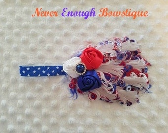 Patriotic July 4th Red White Blue Nagorie Feather Headband made to fit your little princess