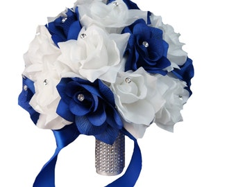 """10"""" Wedding Bouquet - Royal Blue and White Artificial Roses"""