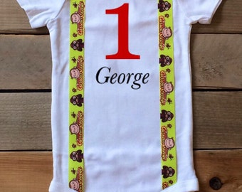 Curious George Shirt - Curious George Birthday Shirt - Personalized - Personalized Curious  George - Boys Curious George Outfit - Monkey