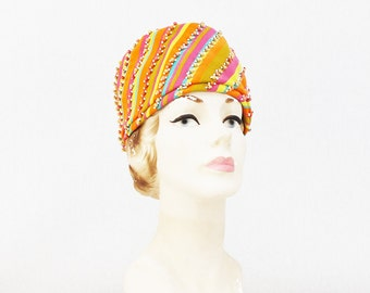 Christian Dior Hat - Mod Beaded Striped Dior Hat - Vintage 1960s Bright Multi Color Ladies Hat