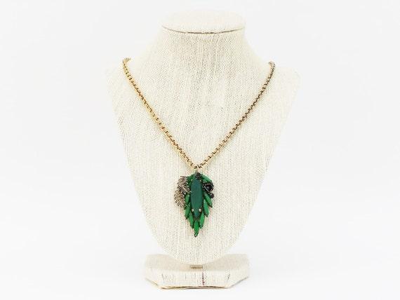 Emerald Green Rhinestone Necklace - Vintage 1940s Boho Art Nouveau Pendant Necklace