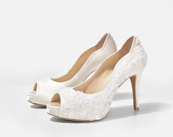 Rosie V3, Lace Wedding Shoes, Beaded Lace Bridal Heels, Ivory White Satin Heels, Peep Toe Wedding Shoes, White Shoes