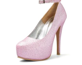 Alisha Custom Made pink Glitter Heels, Bespoke Pink Glitter Pumps, Pink Wedding Shoes, Pink Bridal Heels