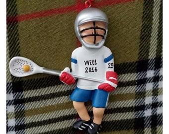 Personalized Christmas Ornament Male Lacrosse Player - Lacrosse Birthday/Team Gift