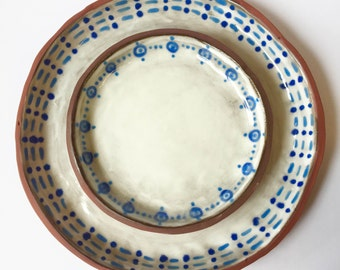 1 Place Setting, Dinner / Dessert Plate, Stoneware, Wedding Registry, Party, Ethnic, Polish, OOAK, Rustic, Clay, Microwave, Dishwasher