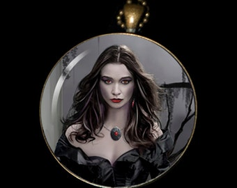 """Necklace of a Painting of mine Entitled - """"The Dark Caster"""""""