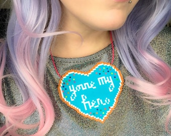 Hama bead Wreck it Ralph cookie necklace - You're my hero!