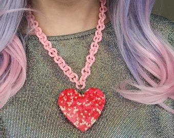 Kawaii large red white & pink resin heart statement necklace