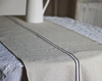 Linen Hemp Grey Bistro Striped Tablerunner