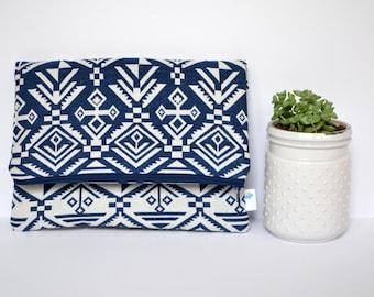 Aztec Fold Over Clutch, Denim Clutch Bag, Gift for Women, Navajo Purse, Tribal Print Clutch, Zippered Clutch Navy Foldover Clutch Wallet