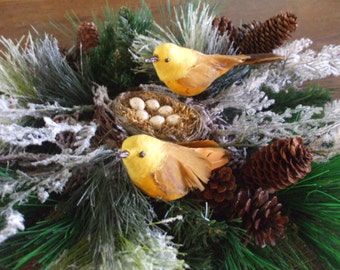 Woodland Centerpiece Bird Nest Yellow Birds Centerpiece  Cabin  Centerpiece
